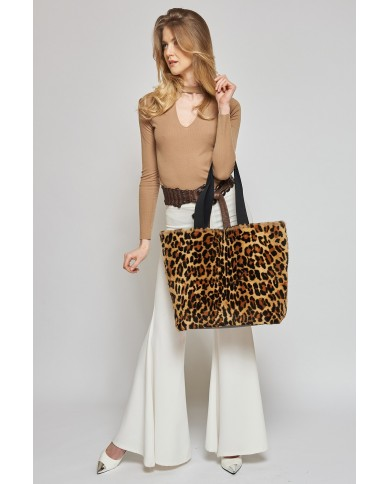 Weasel tote bag with leopard print