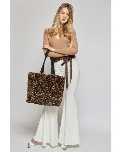 Weasel tote bag with animal print