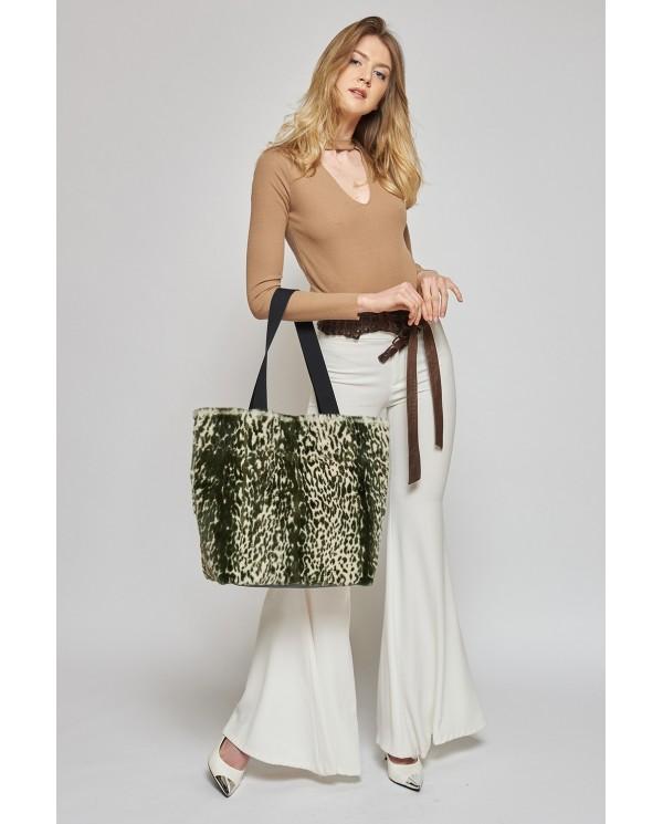 Weasel tote bag with animal print